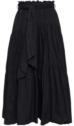 Belted Cotton-poplin Midi Skirt