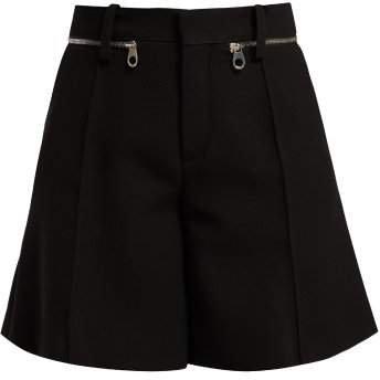 Zip Waistband Wool Crepe Shorts - Womens - Black