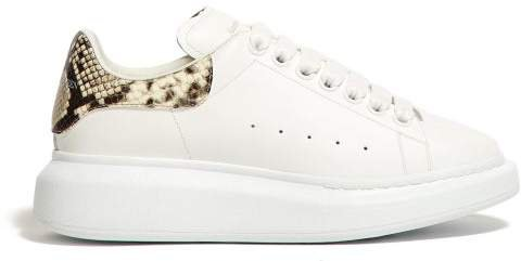 Raised Sole Low Top Leather Trainers - Womens - White Multi