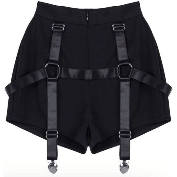 Black Shorts With Straps