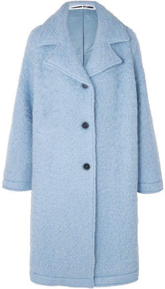 Oversized Wool-blend Bouclé Coat - Sky blue
