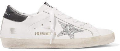 Superstar Distressed Glittered Leather Sneakers - White