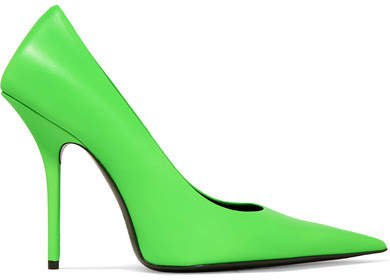Square Knife Neon Leather Pumps - Lime green