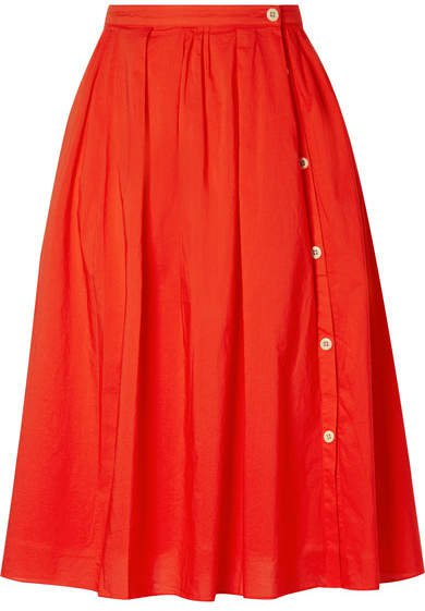 Pleated Cotton-voile Midi Skirt - Red