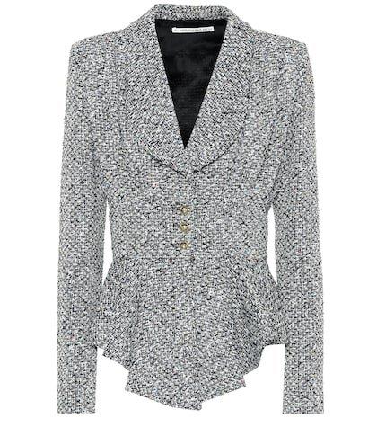 Peplum wool-blend bouclé jacket