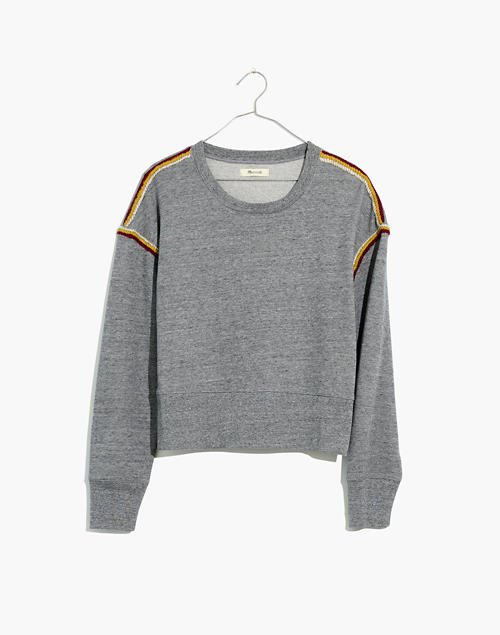 Embroidered-Trim Crop Sweatshirt