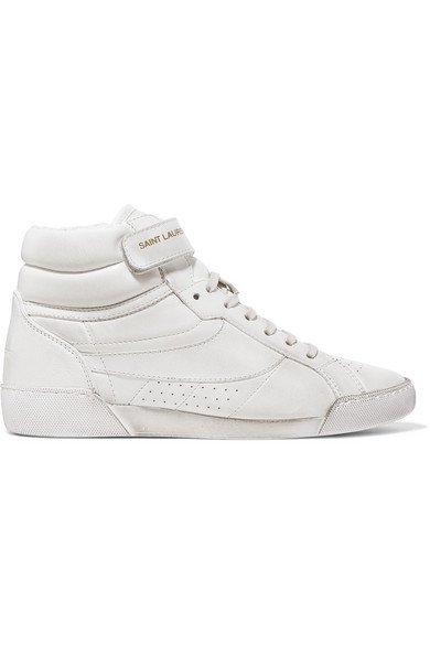 Saint Laurent | Lenny logo-print distressed leather high-top sneakers | NET-A-PORTER.COM