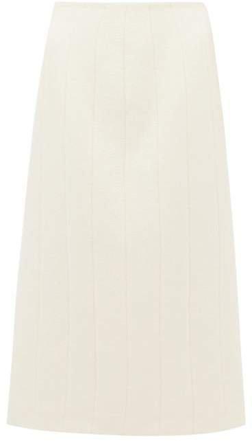 Pietrasole Wool Blend Midi Skirt - Womens - Cream