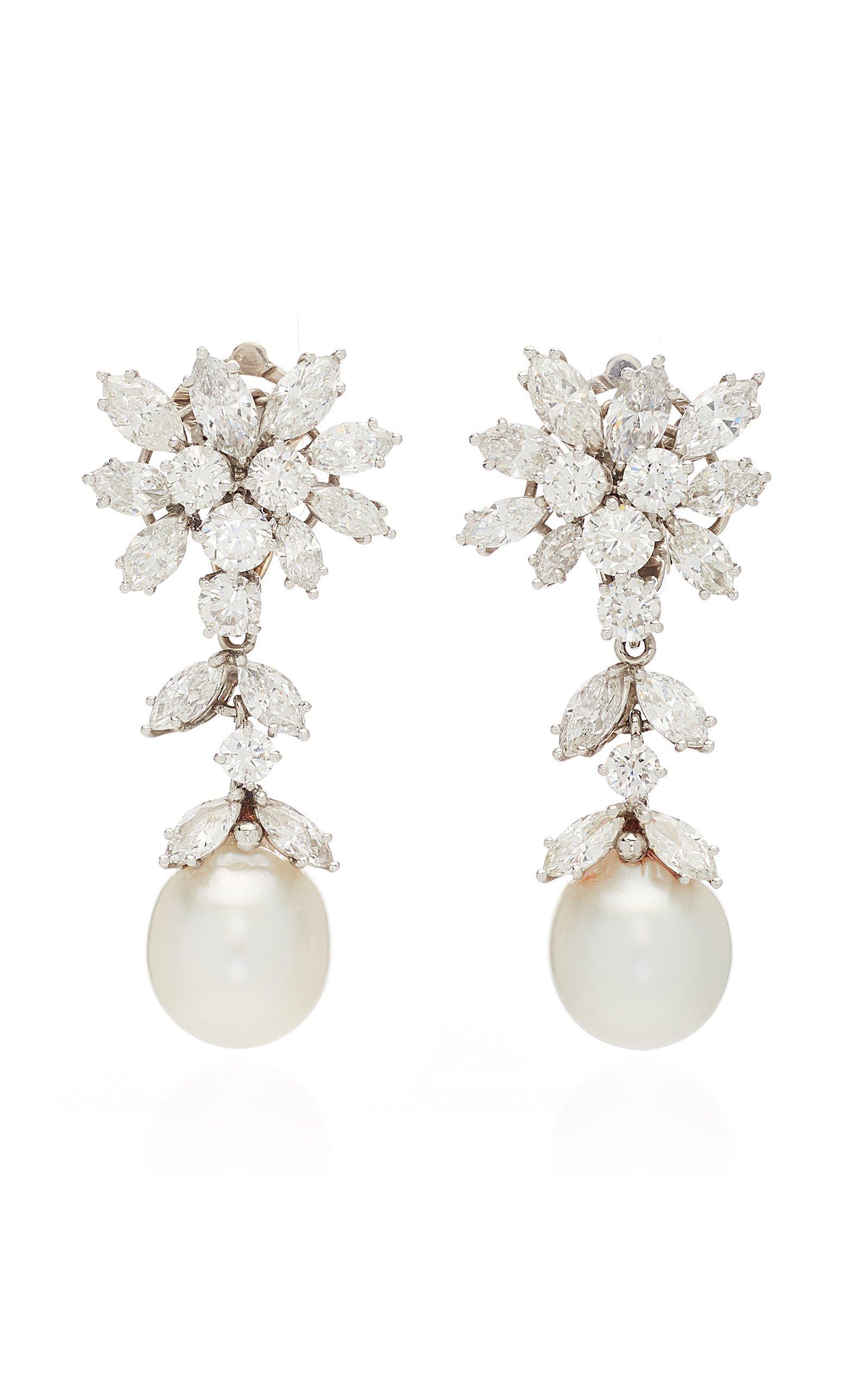 Simon Teakle Cultured Pearl & Diamond Earrings
