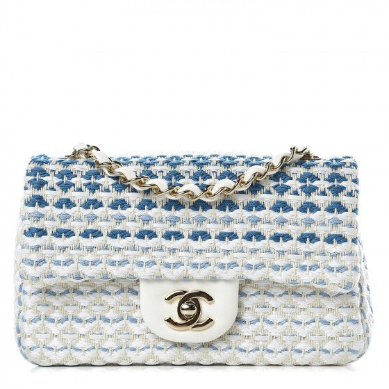 Chanel | lambskin cotton woven mini flap bag