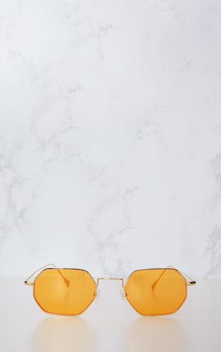 Orange Hexagon Retro Sunglasses | PrettyLittleThing