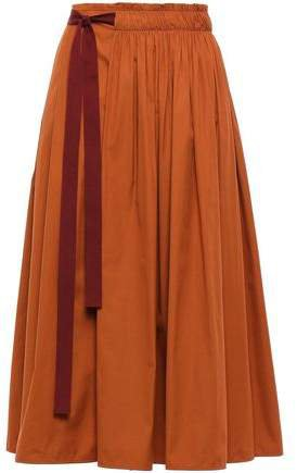 Belted Gathered Cotton-poplin Midi Skirt