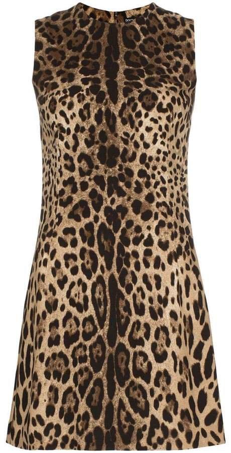 leopard print classic shift mini dress