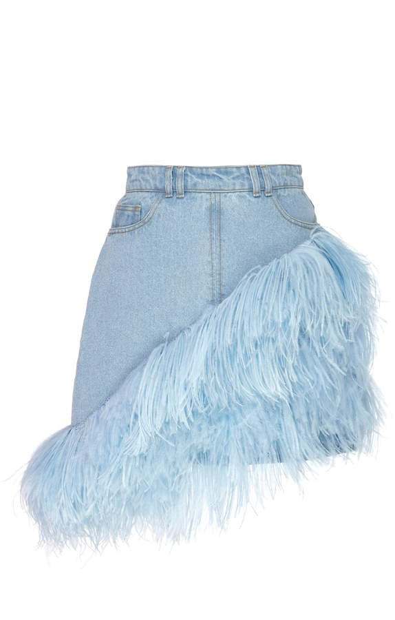 Feather-Trimmed Denim Mini Skirt