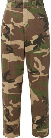 Camouflage-print Cotton-twill Wide-leg Pants - Army green