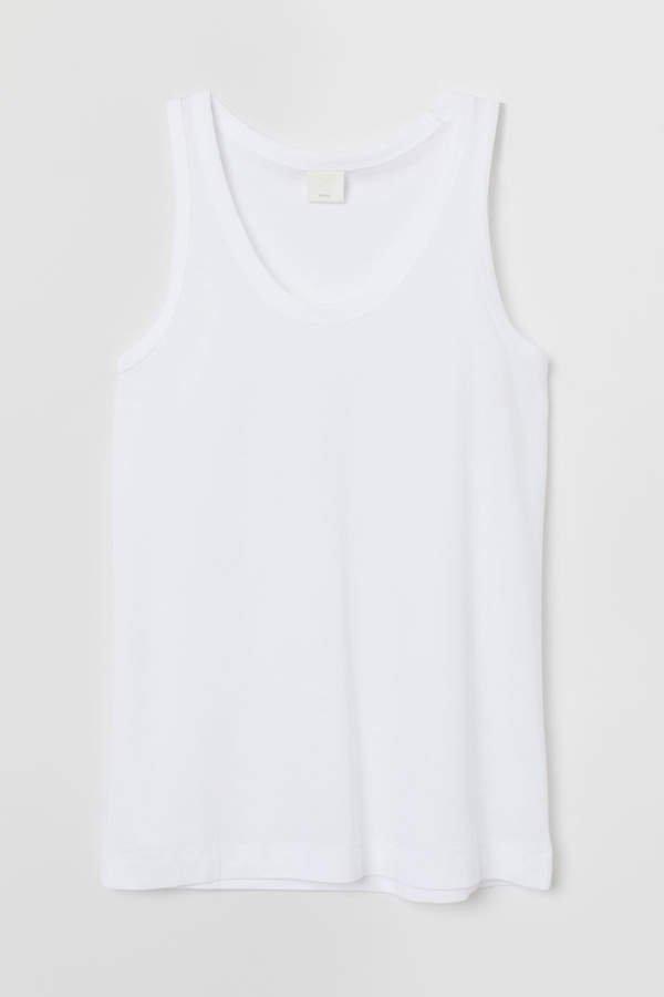 Cotton-blend Tank Top - White