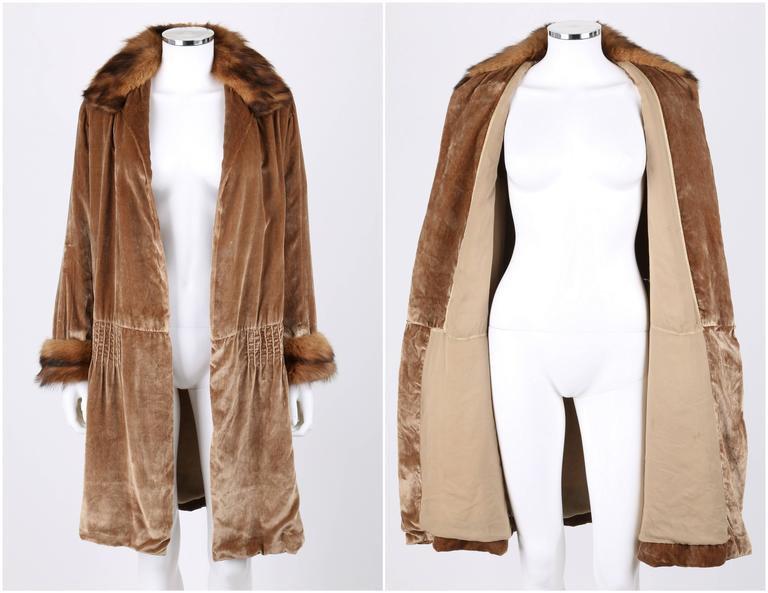 JEAN PATOU Couture c.1920s Bronze Fur Trim Velvet Drop Waist Evening Jacket Coat For Sale at 1stdibs