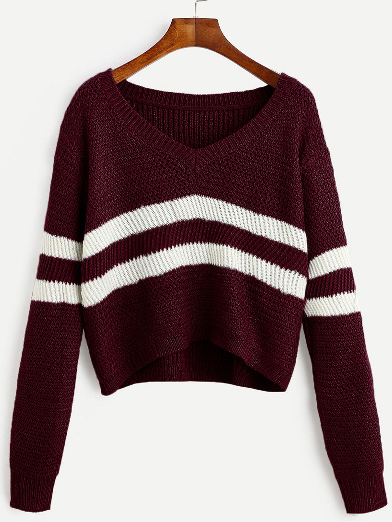 Burgundy Striped V Neck Crop Sweater