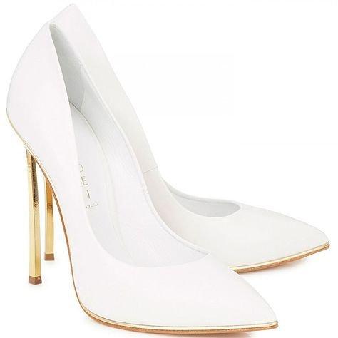 Casadei gold blade heel white pumps   botas y zapatos   White pumps, Fashion, Shoes