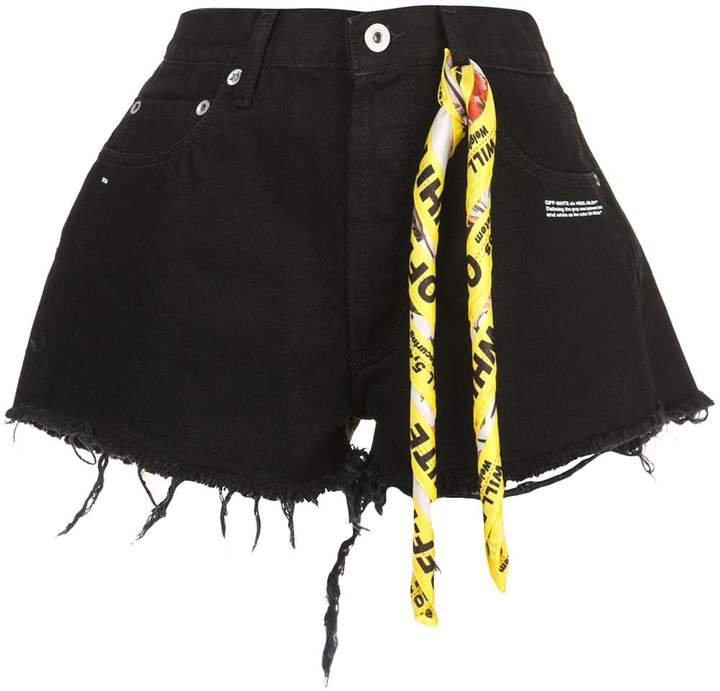 twisted scarf detailed denim shorts
