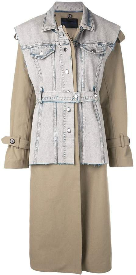 Belted Trench with Denim Vest Coat