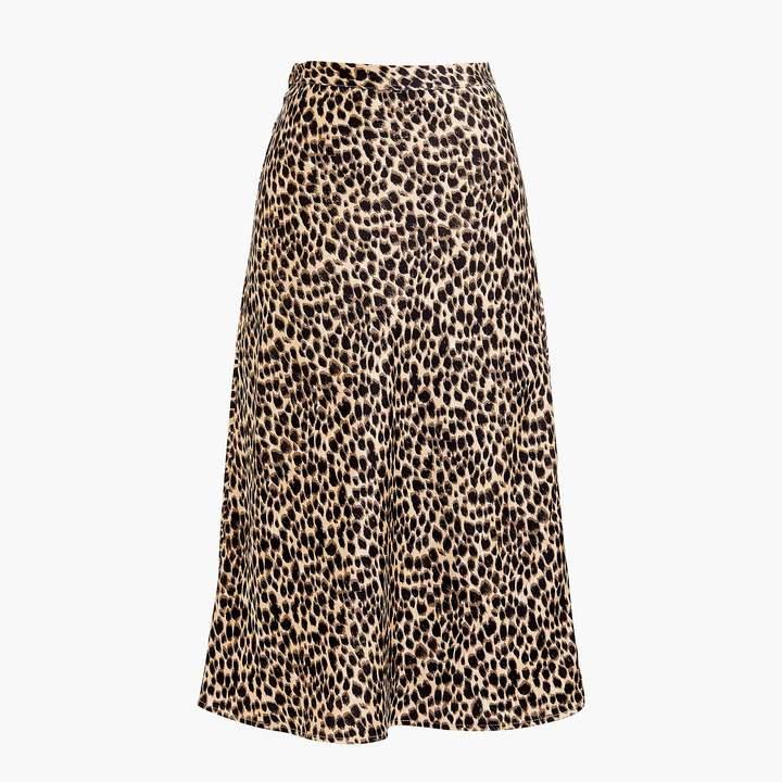 Pull-on leopard bias midi skirt