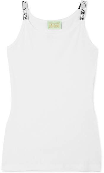 Intarsia-trimmed Ribbed Cotton-jersey Tank - White