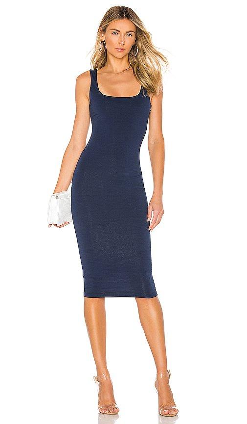 superdown Carlina Square Neck Midi Dress in Navy Blue   REVOLVE