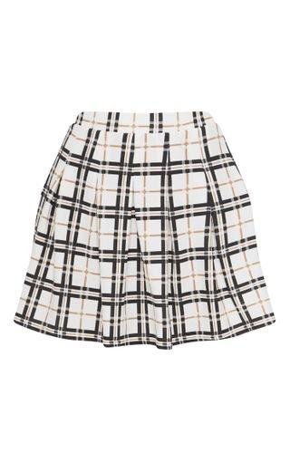 Black Check Tennis Side Split Skirt | Skirts | PrettyLittleThing