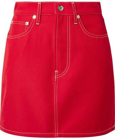 Denim Mini Skirt - Red