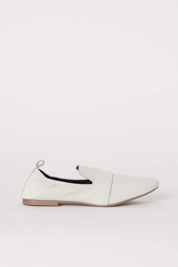Suede Loafers - White
