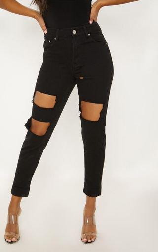 Black Extreme Rip Straight Leg Jean | Jeans | PrettyLittleThing