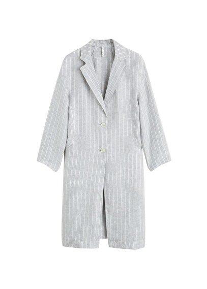 MANGO Stripped linen-blend jacket