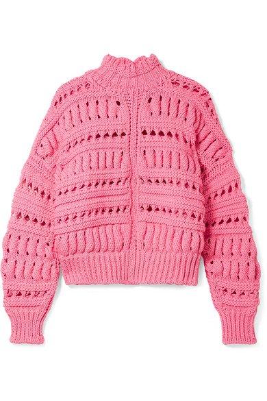Isabel Marant   Zoe oversized open-knit cotton-blend turtleneck sweater   NET-A-PORTER.COM