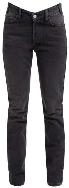 V Waist Straight Leg Jeans - Womens - Black