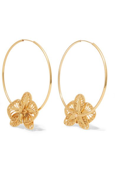 Mallarino | Orquídea gold vermeil hoop earrings | NET-A-PORTER.COM
