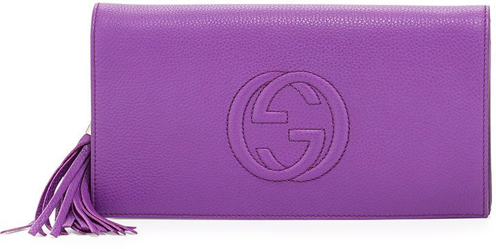 Gucci Soho Leather Clutch Bag Purple | Where to buy & how to wear