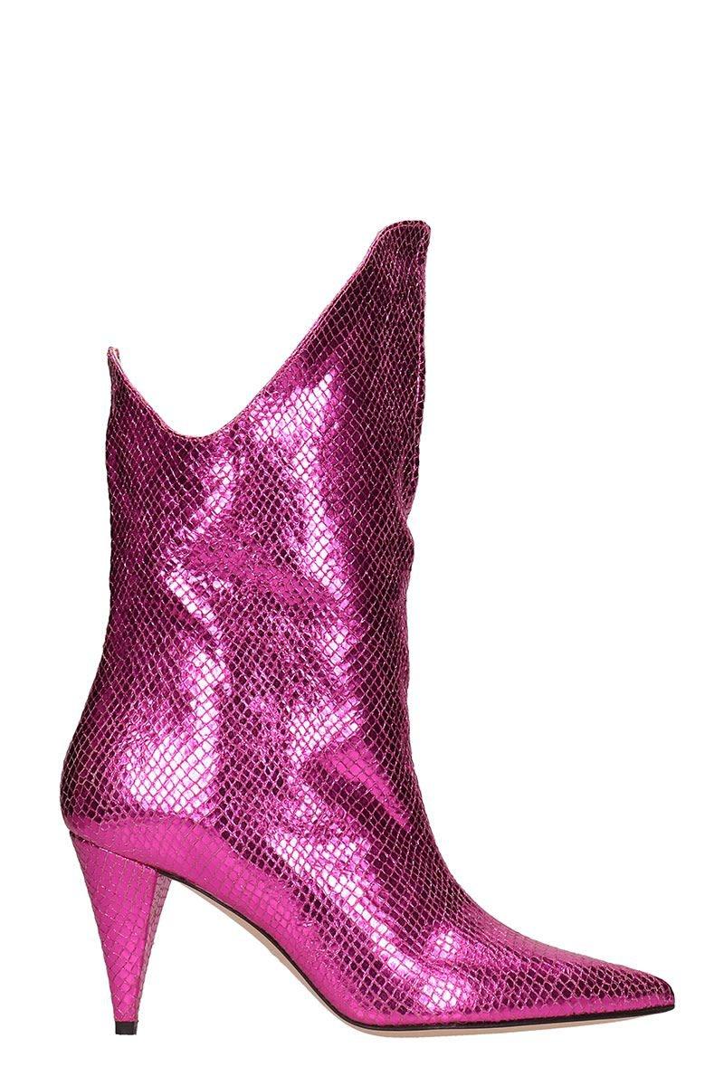 Marc Ellis Fuxia Leather Ankle Boots