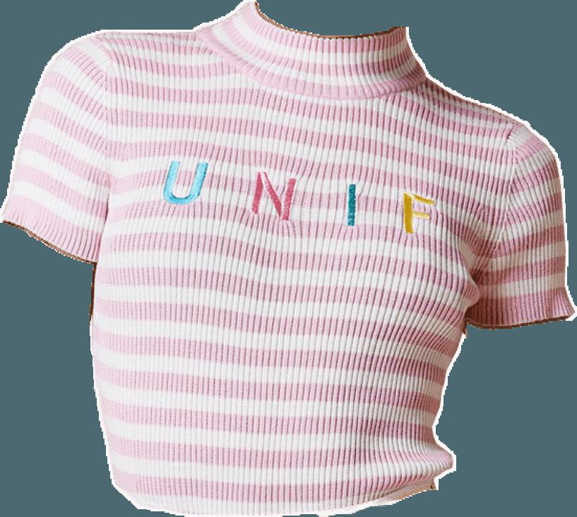 Pink & White Striped 'UNIF' Crop Top