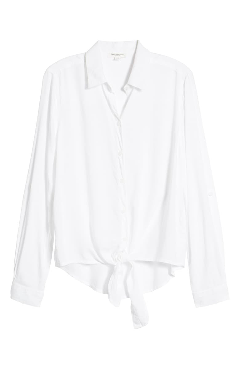 beachlunchlounge Yumi Tie Front Rayon Top   Nordstrom