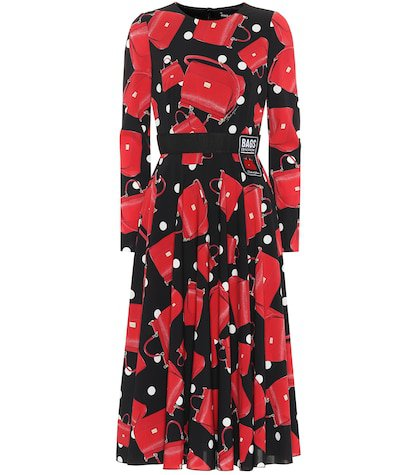 Printed stretch silk midi dress