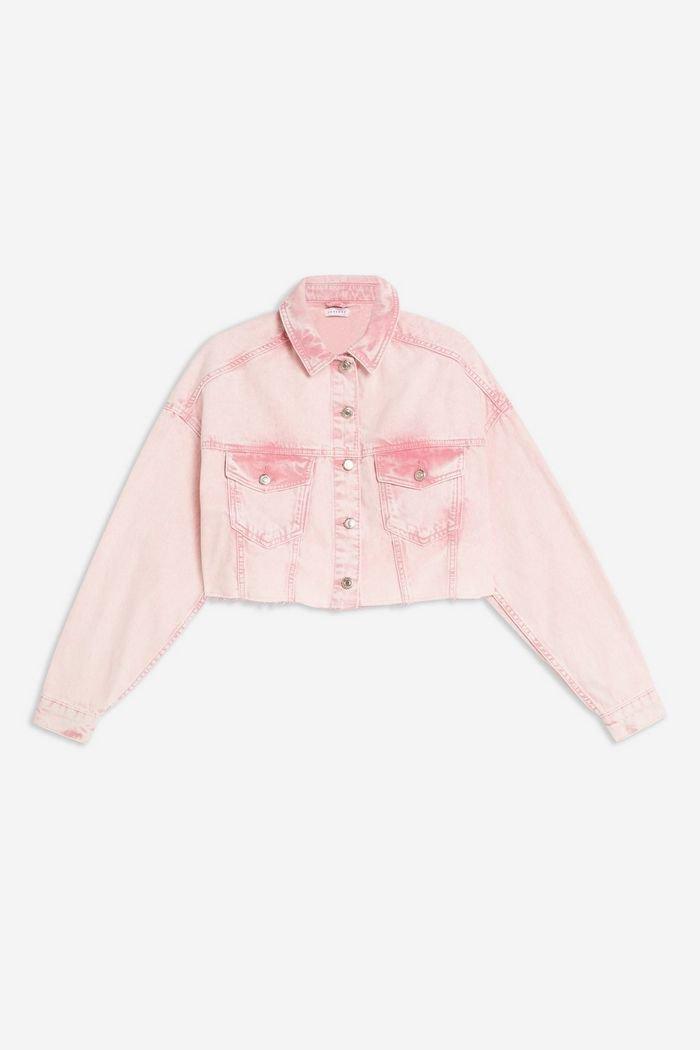 Pink Acid Neon Wash Hacked Denim Jacket | Topshop