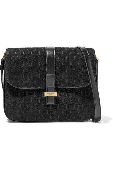 Saint Laurent | Monogramme leather-trimmed suede shoulder bag | NET-A-PORTER.COM