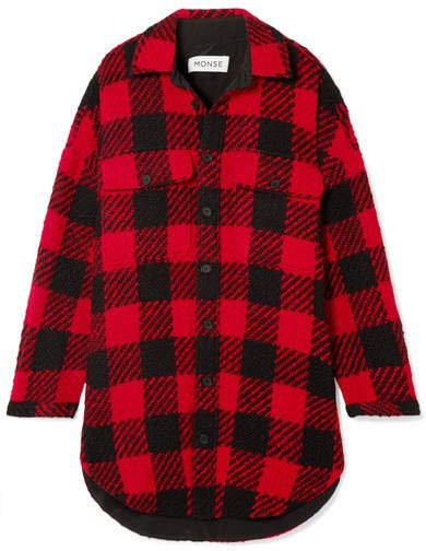 Oversized Checked Wool-bouclé Coat - Red