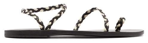 Eleftheria Braided Leather Sandals - Womens - Black White