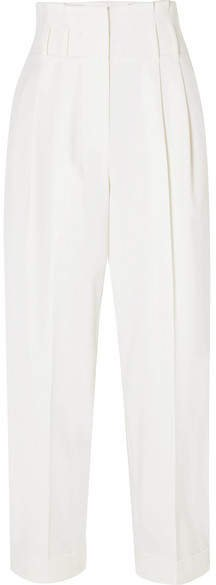 Cropped Wool-blend Tapered Pants - White
