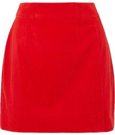 Alexa Cotton-corduroy Mini Skirt - Red