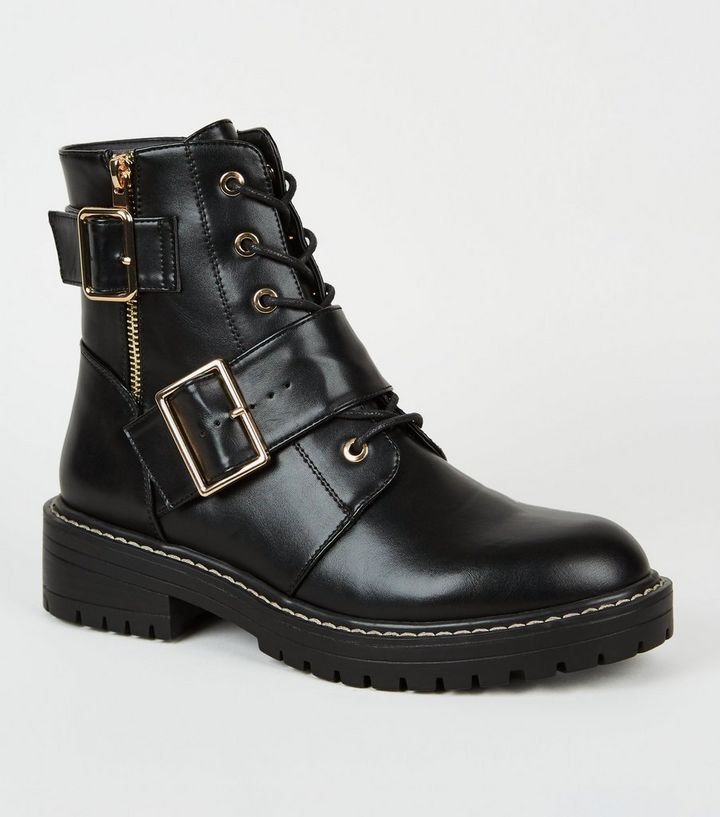 Black Leather-Look Lace Up Buckle Boots | New Look