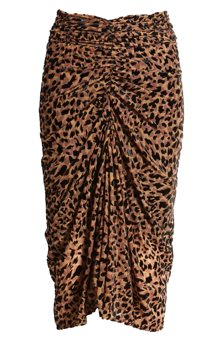 J.O.A. Leopard Print Ruched Skirt brown