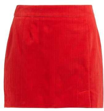Alexa Cotton Corduroy Mini Skirt - Womens - Red